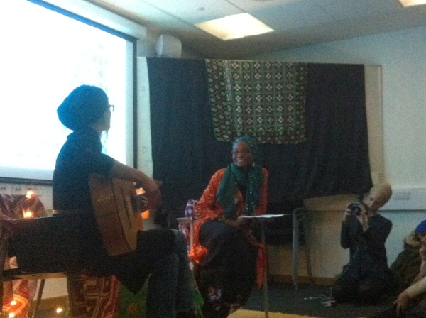 Me (left) and Rabia of Pearls of Islam at Salaam café, SOAS