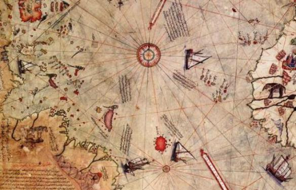 Map on gazelle skin dated 1513 CE by Turkish navigator Piri Reis